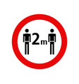 social distancing sign isolated vector image