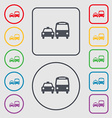 taxi icon sign symbol on the Round and square vector image