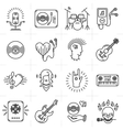 Thin lines music icons set Punk rock band guitar vector image vector image
