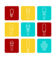 white microphone line icons set vector image vector image