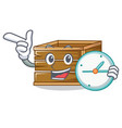 with clock crate character cartoon style vector image vector image
