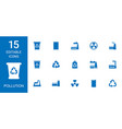 15 pollution icons vector image vector image