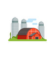 agricultural silo towers and red barn countryside vector image vector image