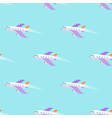 airplane flying in sky seamless pattern on blue vector image