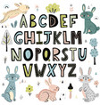 alphabet with cute rabbits vector image vector image