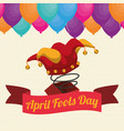april fools day hat joker box ribbon balloons vector image vector image