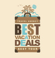 banner on travel theme with suitcase and palms vector image vector image