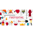 banner with firefighting items fire protection vector image vector image