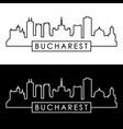 bucharest city skyline linear style editable vector image vector image