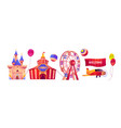 carnival funfair with circus tent and ferris wheel vector image