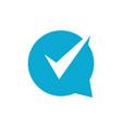 check talk chat bubble logo icon vector image