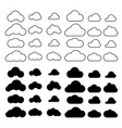 clouds icons set outline cloud symbols vector image vector image