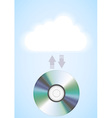 computer cloud with disc vector image vector image