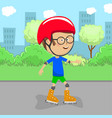 cute little boy on rollers skates in city park vector image vector image