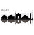 delhi city skyline black and white silhouette vector image vector image