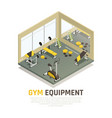 exercise equipment isometric composition vector image vector image