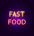 fast food neon sign vector image vector image