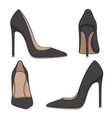 female black classic shoes with heels vector image vector image