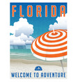 florida travel poster or sticker vector image vector image