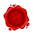 food and drug administration red wax seal with vector image vector image