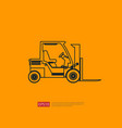 forklift truck line icon warehouse fork loader vector image vector image