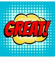 Great comic book bubble text retro style vector image vector image