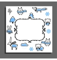 Greeting card template with winter pattern vector image vector image