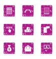 handbag of cash icons set grunge style vector image vector image