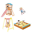 happy kids playing at the playground vector image