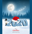 happy new year 2020 background with a winter vector image