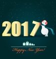 Happy Snowman and a big 2017 letter vector image vector image