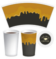 hot drink paper cup template with flowing liquid vector image