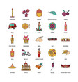 indonesia icons set cartoon style vector image