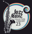 jazz music poster with a realistic saxophone vector image vector image