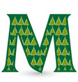 letter m christmas festive font icon vector image vector image