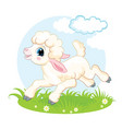 little cute funny character white lamb vector image