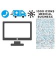 Monitor Icon with 1000 Medical Business Pictograms vector image vector image