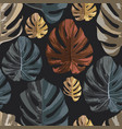 multicolor monstera leaves seamless pattern black vector image vector image