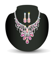 necklace with her wedding with pink vector image vector image