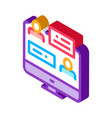 online discussion isometric icon vector image vector image