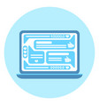open laptop computer icon with social network vector image
