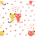 pattern with two lovers of cats vector image vector image