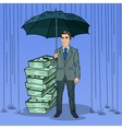 Pop Art Happy Businessman Protecting Money vector image vector image