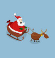 santa claus and deer in cartoon style vector image