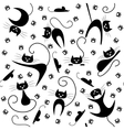Seamless pattern with black cats paw prints and vector image vector image