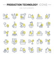 set line icons production technology vector image