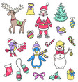 set of christmas characters vector image