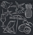 set of summer symbols clams shells cocktail vector image