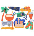 summer holiday symbols set cocktail shorts vector image vector image