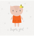 super girl cute little kitty greeting card or vector image